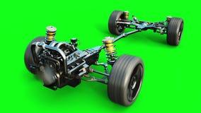 Шасси автомобиля с изолятом двигателя Очень быстрый управлять АВТОМАТИЧЕСКАЯ концепция зеленый экран Реалистическая анимация 4K иллюстрация вектора