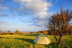 Шатер лагеря стоит в луге около дерева на ландшафте осени Стоковая Фотография