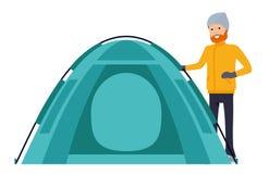 Шатер в базовом лагере иллюстрация в стиле мультфильма плоском изолированная на белой предпосылке бесплатная иллюстрация