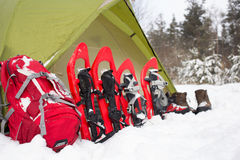 Шатер в лесе зимы Стоковые Фото
