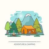 Шатер и лагерный костер в лесе или древесине иллюстрация штока