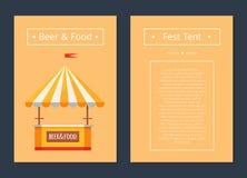 Шатер фестиваля с собранием пива и еды плакатов иллюстрация вектора