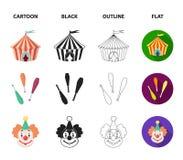 Шатер цирка, жезлы juggler, клоун, шляпа волшебника Значки собрания цирка установленные в шарже, черноте, плане, плоском векторе  Стоковое Изображение RF
