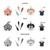 Шатер цирка, жезлы juggler, клоун, шляпа волшебника Значки собрания цирка установленные в шарже, черноте, monochrome векторе стил Стоковое Изображение RF