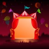 Шатер цирка с воздушными шарами на ноче иллюстрация штока