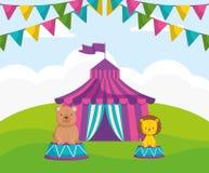 Шатер цирка с игрушечным медведя иллюстрация вектора
