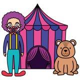 Шатер цирка с игрушечным медведя иллюстрация штока