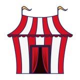 Шатер цирка с изолированными флагами линиями мультфильма голубыми иллюстрация вектора