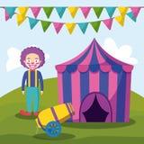 Шатер цирка с клоуном и карамболем иллюстрация штока