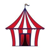 Шатер цирка с линиями флага изолированными мультфильмом голубыми бесплатная иллюстрация