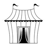 Шатер цирка с мультфильмом изолированным флагами в черно-белом иллюстрация штока