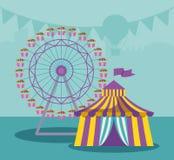 Шатер цирка с панорамным колесом иллюстрация вектора