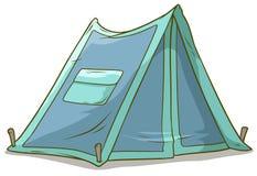 Шатер шаржа голубой располагаясь лагерем с карманн иллюстрация вектора