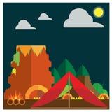 Шатры лесного пожара горы вектора установленные располагаясь лагерем земные бесплатная иллюстрация