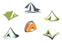 Шатры лагеря перемещения и приключения иллюстрация вектора