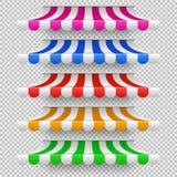 Шатры тента магазина для окна Внешняя сень рынка, винтажный комплект вектора крыши магазина бесплатная иллюстрация