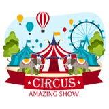 Шатры цирка с знаменем Изумительная выставка Плоская иллюстрация иллюстрация штока