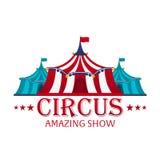 Шатры цирка с знаменем Изумительная выставка Плоская иллюстрация иллюстрация вектора