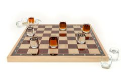 Шахматная доска со стеклами алкогольных напитков, вместо контролеров На белой предпосылке Алкогольные напитки в стопках как иллюстрация вектора