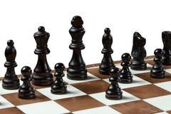 Шахматная доска с деревянными шахматными фигурами Стоковое фото RF