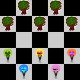 Шахматная доска, eco влюбленности электрической лампочки, энергосберегающее, сбережения энергии Стоковое Изображение