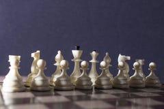 Шахматные фигуры белого цвета стоковые фотографии rf