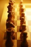 Шахматные фигуры выровнянные вверх на доске Стоковая Фотография RF