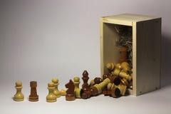 Шахматные фигуры и деревянная коробка стоковая фотография rf