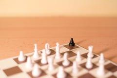 Шахматные фигуры как метафора - расизм и задирать стоковые фото