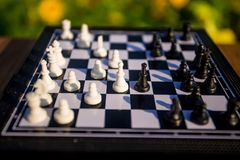 Шахматные фигуры на деревянном столе в парке стоковая фотография