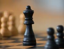 Шахматные фигуры показывая глубину поля стоковая фотография