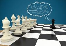 Шахматные фигуры против голубого облака предпосылки и мысли с doodles математики Стоковая Фотография RF