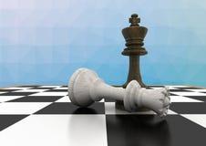 Шахматные фигуры против голубой сетки Стоковое Фото