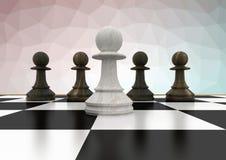 Шахматные фигуры против розовой зеленой сетки Стоковая Фотография