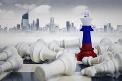 Шахматные фигуры флага Netherland близко упаденные белые Стоковые Изображения