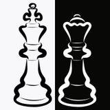 Шахматные фигуры, черный король и белый ферзь, соперничество или романс иллюстрация вектора