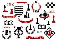 Шахматы и heraldic элементы дизайна Стоковое Изображение RF
