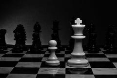 Шахмат Белые король и пешка на доске Стоковая Фотография