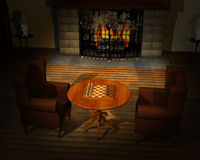 Шахмат игры, иллюстрация игровой комнаты Стоковые Изображения