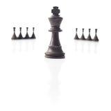 Шахмат. Черные король и пешки. Принципиальная схема силы. Стоковая Фотография