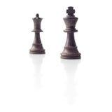 Шахмат. Черные король и ферзь, принципиальная схема водительства Стоковое Изображение RF