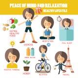 Шахта и релаксация мира Здоровый уклад жизни Стоковая Фотография RF