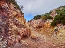 Шахта каолина, Quattropani в Lipari, Эоловых островах, Сицилии, Италии Стоковые Изображения