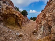 Шахта каолина, Quattropani в Lipari, Эоловых островах, Сицилии, Италии Стоковое фото RF