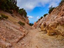 Шахта каолина, Quattropani в Lipari, Эоловых островах, Сицилии, Италии Стоковые Фотографии RF