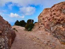 Шахта каолина, Quattropani в Lipari, Эоловых островах, Сицилии, Италии Стоковая Фотография