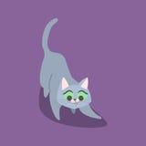 Шаловливый голубой кот с зелеными глазами на темной предпосылке также вектор иллюстрации притяжки corel Стоковая Фотография RF