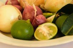 Шалот, чили, лимон, лук стоковые фото
