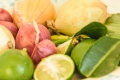 Шалот, чили, лимон, лук стоковое изображение rf