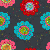 Шальной безшовной нарисованная рукой картина вектора Яркие цвета лета, современные цветки мака Стиль для печатей, батик моды Boho Стоковое Фото
